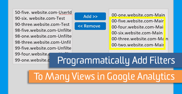 Programmatically Add Filters to Many Views in Google Analytics