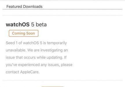 Apple Pulls watchOS 5 Beta 1 From Developer Portal After Reports of Bricked Devices