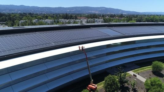 New Apple Park Drone Videos Spot Workers Cleaning Window Shades, Increased Landscaping, and More