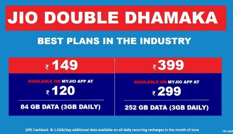 Reliance Jio Double Dhamaka offer: 1.5GB additional data per day on all plans