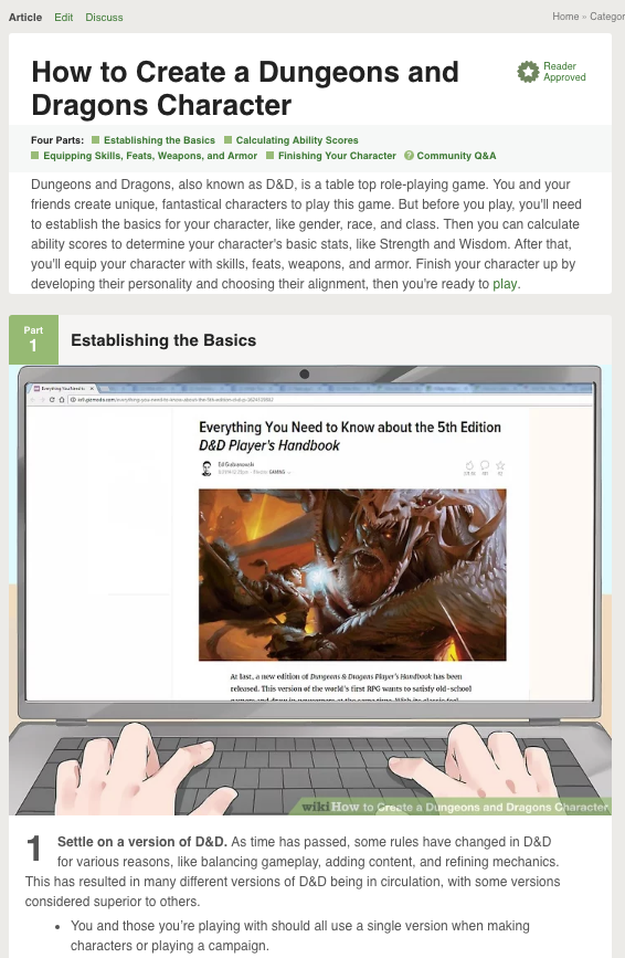 """A screenshot of Part 1 of the wikiHow article """"How to Create a Dungeons and Dragons Character,"""" which helps readers learn by starting with general concepts before moving on to specifics."""