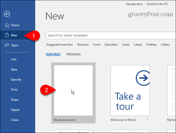 Create a new document in Word