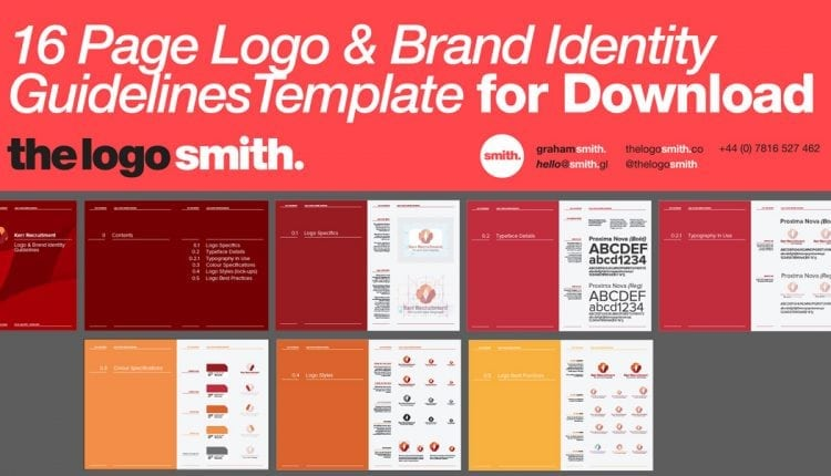 14-16 Page Logo & Brand Identity Guidelines Template for Download – Info Graphic Design