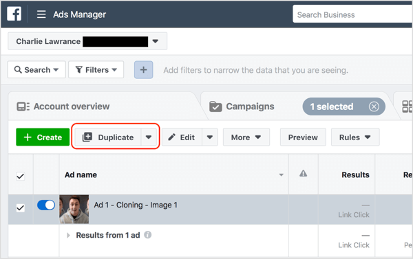 Select the Facebook ad you want to change and click Duplicate.