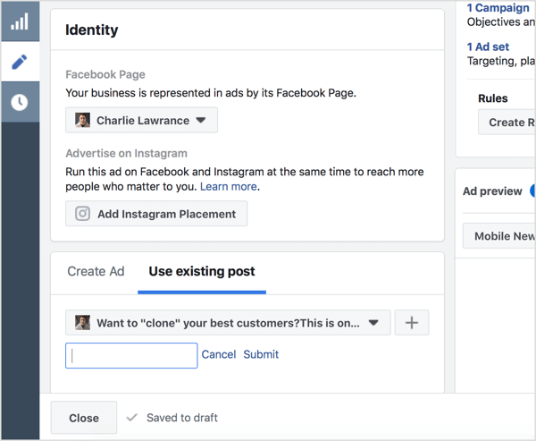 Select Use Existing Post and enter the Facebook post ID.