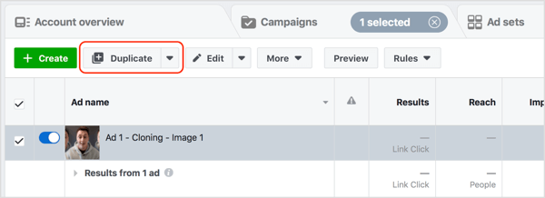 Select your Facebook ad and click Duplicate.