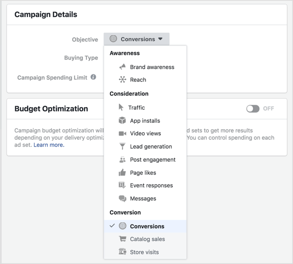 Choose your new Facebook ad objective from the Objective drop-down list.