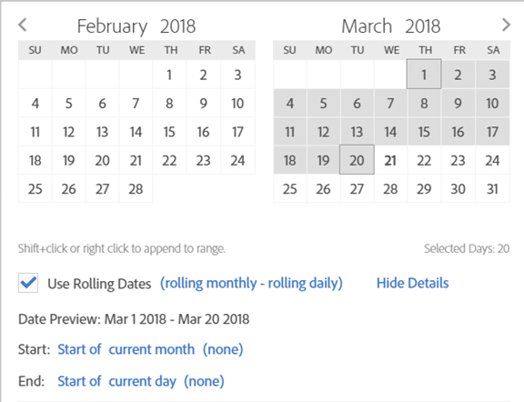 screenshot of calendar representing month to date (this year)