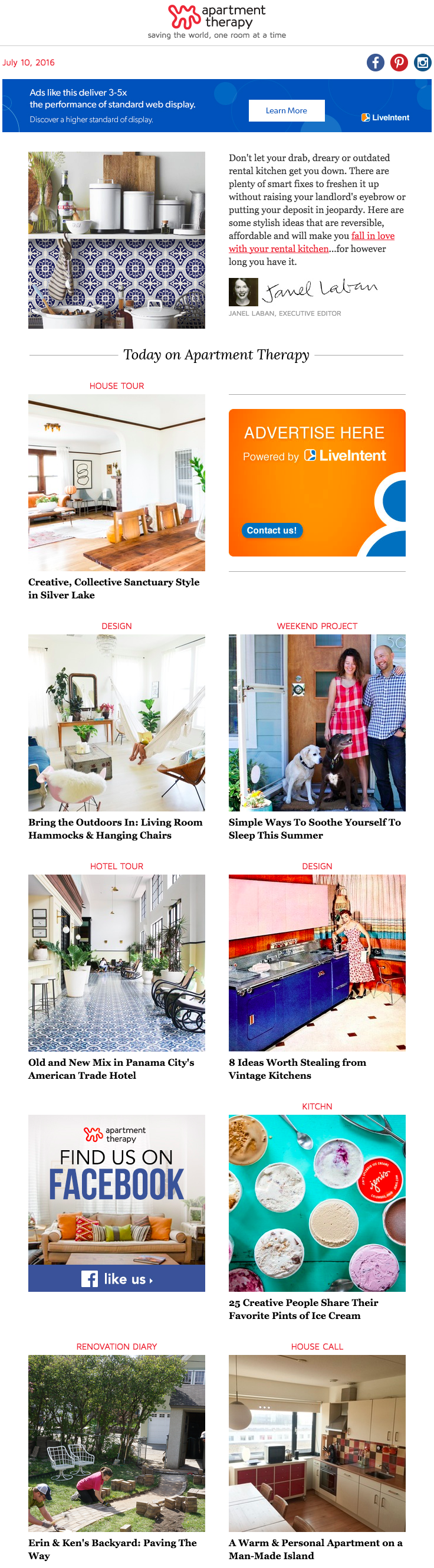 Apartment Therapy – Email Newsletter with Personal Message