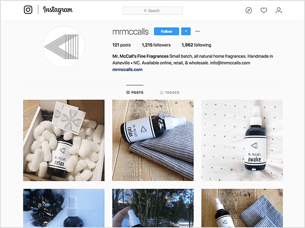 Tyler J. McCall had an Instagram profile for a product he used to sell, Mr. McCall's Fine Fragrances.