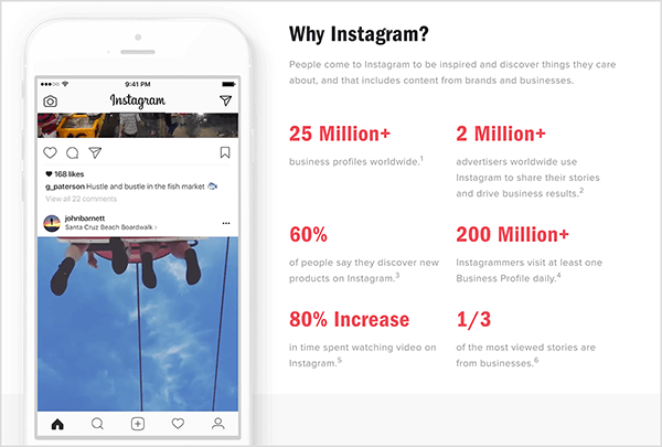 """Instagram has a webpage with the title """"Why Instagram?"""" that shares important statistics about Instagram and Instagram Stories for business."""