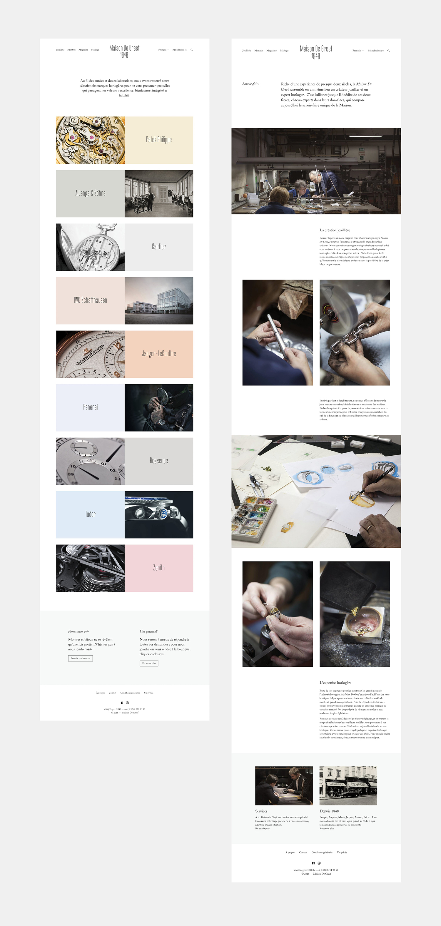 Website by Base Design for high-end jewellery brand, expert watchmaker and retailer Maison De Greef 1848