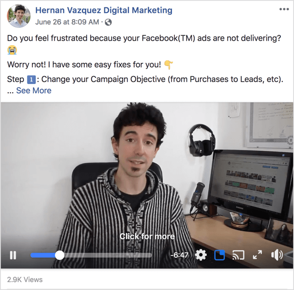 Upload your videos natively to your Facebook page and include the summary as part of the post.