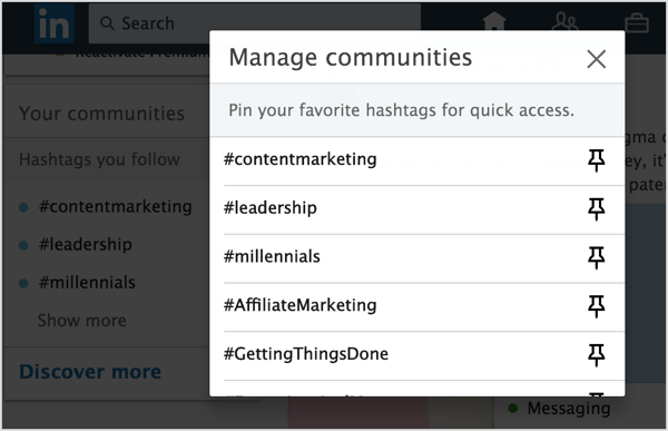Click the Pin icon next to the LinkedIn hashtags you want to add to pin to your list.