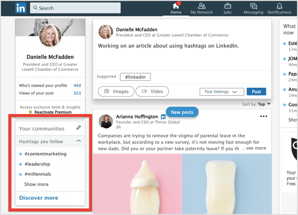 Click the pencil icon to start adding LinkedIn hashtags to your list.