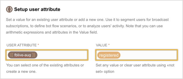Create a new user attribute and enter a value for it.