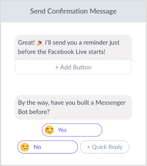 Create your confirmation message.
