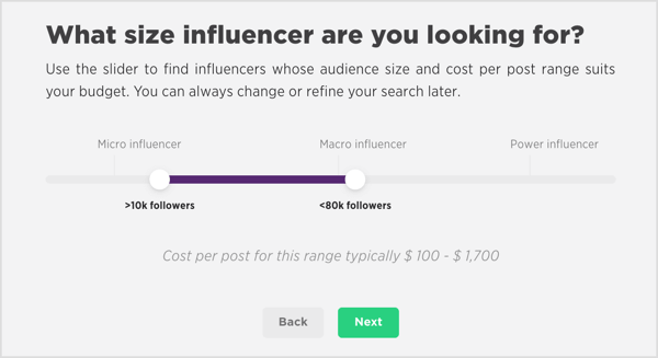Narrow your Scrunch search to micro-, macro-, or power influencers on YouTube.