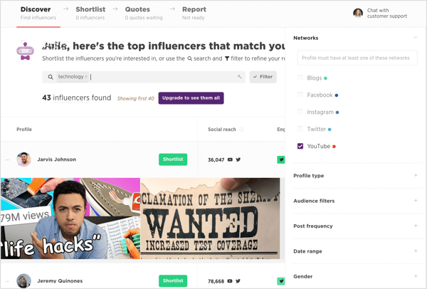 Use Scrunch's filters to zero in on a YouTube influencer who matches your requirements