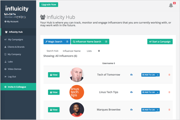 On Influicity, select the best influencers for your campaign based on your target audiences, location, and behavioral attributes.