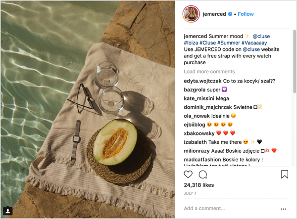 Example of Instagram influencer marketing campaign post with unique offer code