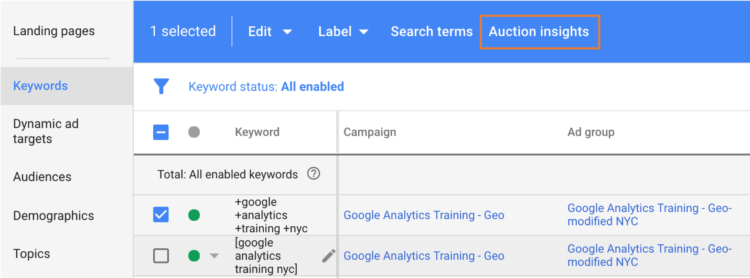 using keywords for the auction insight tools in google ads