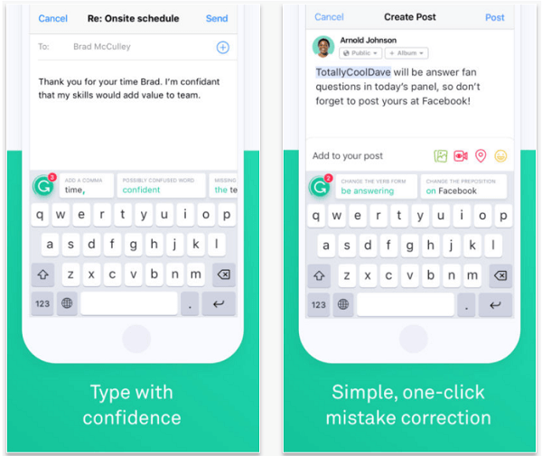 Install the Grammarly Keyboard app to spell and grammar check your posts on mobile.