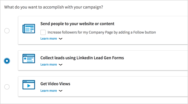 Select Collect Leads Using LinkedIn Lead Gen Forms as your campaign objective.