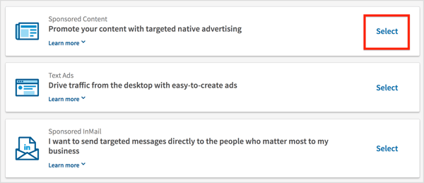 Select Sponsored Content on the Choose an Ad Product page.