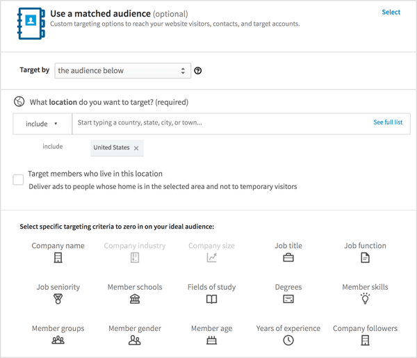 Choose the target audience for your LinkedIn ad.