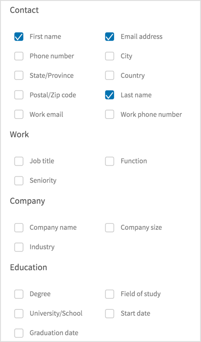 Decide what info you want to collect on your lead form.