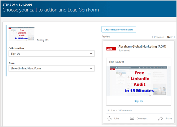 Choose a lead form or click Create New Form Template to create a new one.