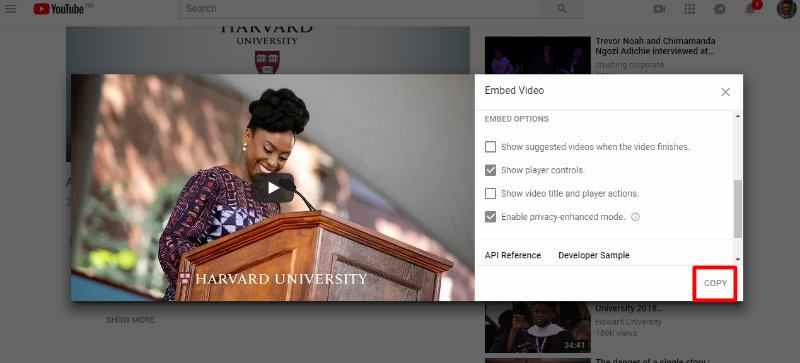embed-youtube-videos-privately-visual-harvard-uncheck-finish