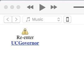 iTunes: Re-Enter UCGovernor – came up while trying to browse local content – Info Mac