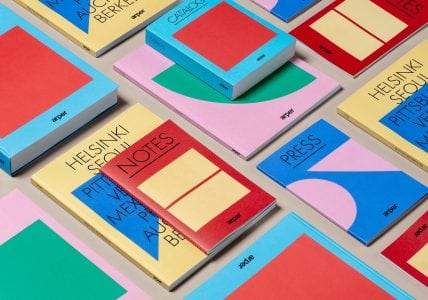 Graphic identity, catalogues, notebooks and press packs by Clase bcn for Italian furniture company Arper