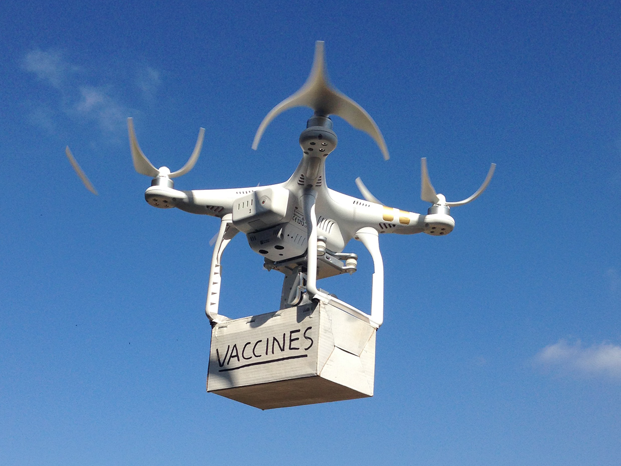 Drone delivery of vaccines to the South Pacific island nation of Vanuatu.