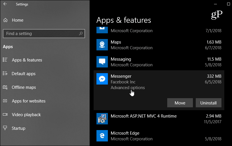 Settings apps features