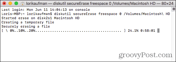 Command to securely erase free space