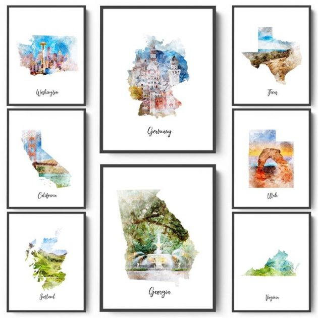 Watercolor Map Prints only $3.99!