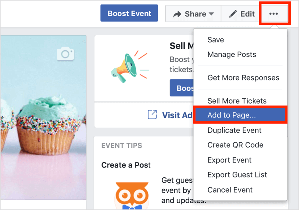 Click the three dots button at the top of the Facebook event page and select Add to Page.
