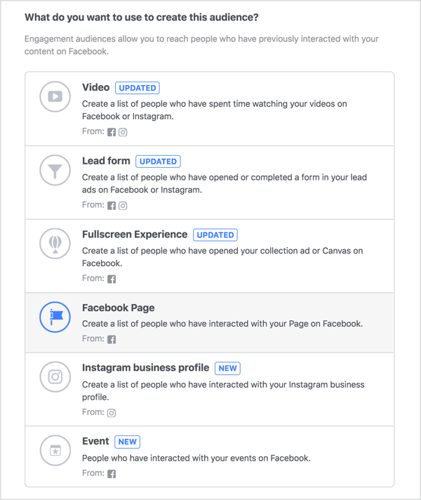 Select Facebook Page for your engagement custom audience.