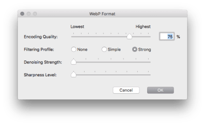 A dialogue in Photoshop for the WebP plugin showing various options for export quality, denoising, and filtering.