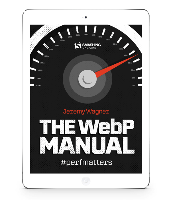 A mockup of The WebP Manual's cover on a white iPad