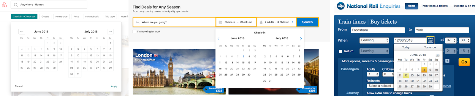 Three screenshots of similar-looking date finder tools