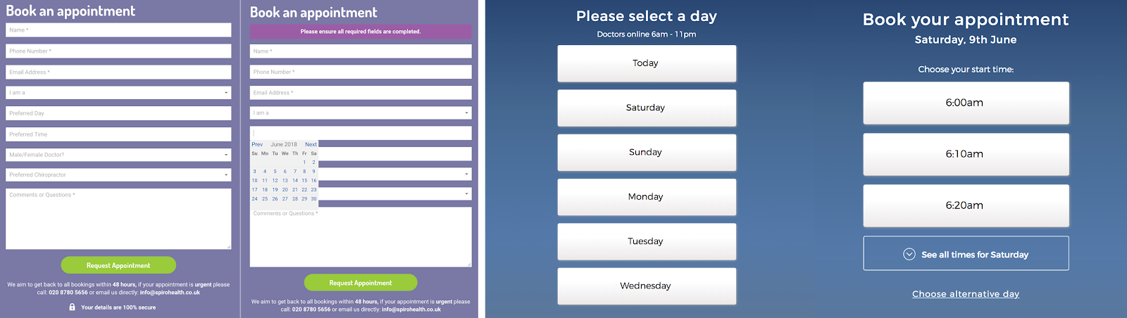 Two screenshots: the first is a traditional date picker, the second is a simplified interface for finding an appointment