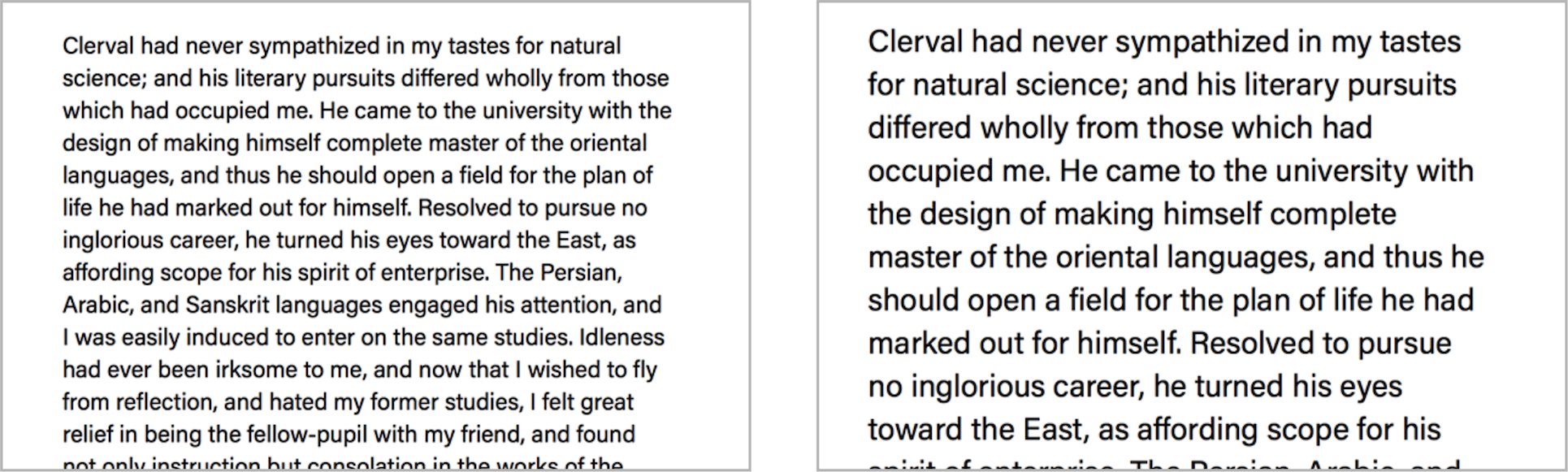 Two panels (from left): The original typographic design and the effect of an increased font size.