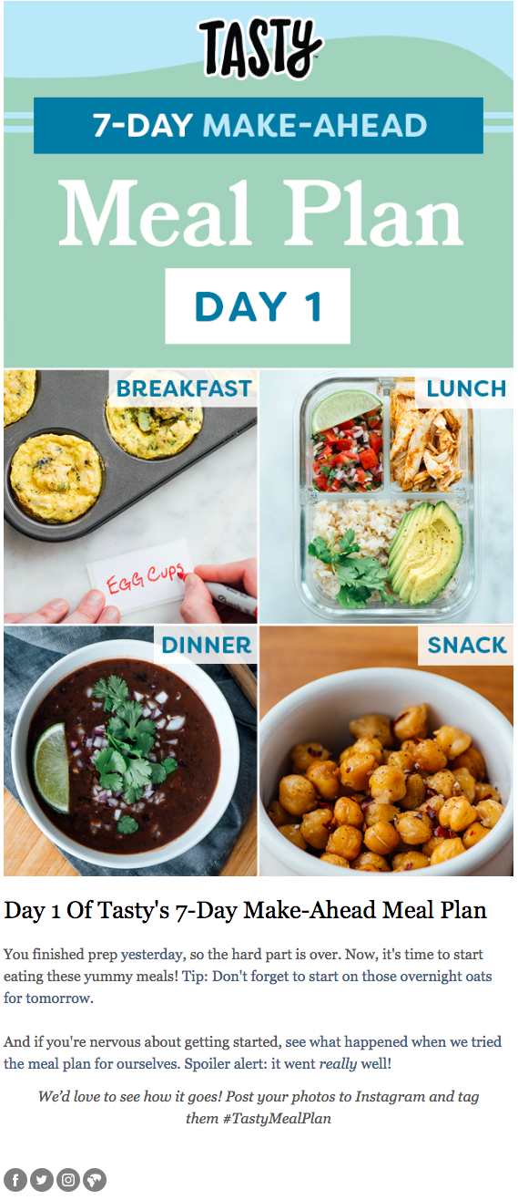 Buzzfeed – Personalized Email Newsletter – Meal Plan