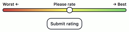 """The revised slider now followed by a button reading """"Submit rating""""."""