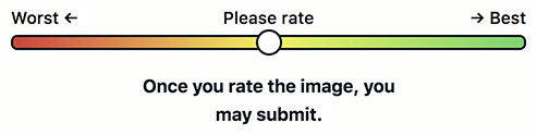 "The revised slider followed by the text ""Once you rate the image, you may submit."""