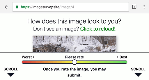 """The survey with the clipped image, but now there is a downward-pointing arrow with the word """"Scroll""""."""